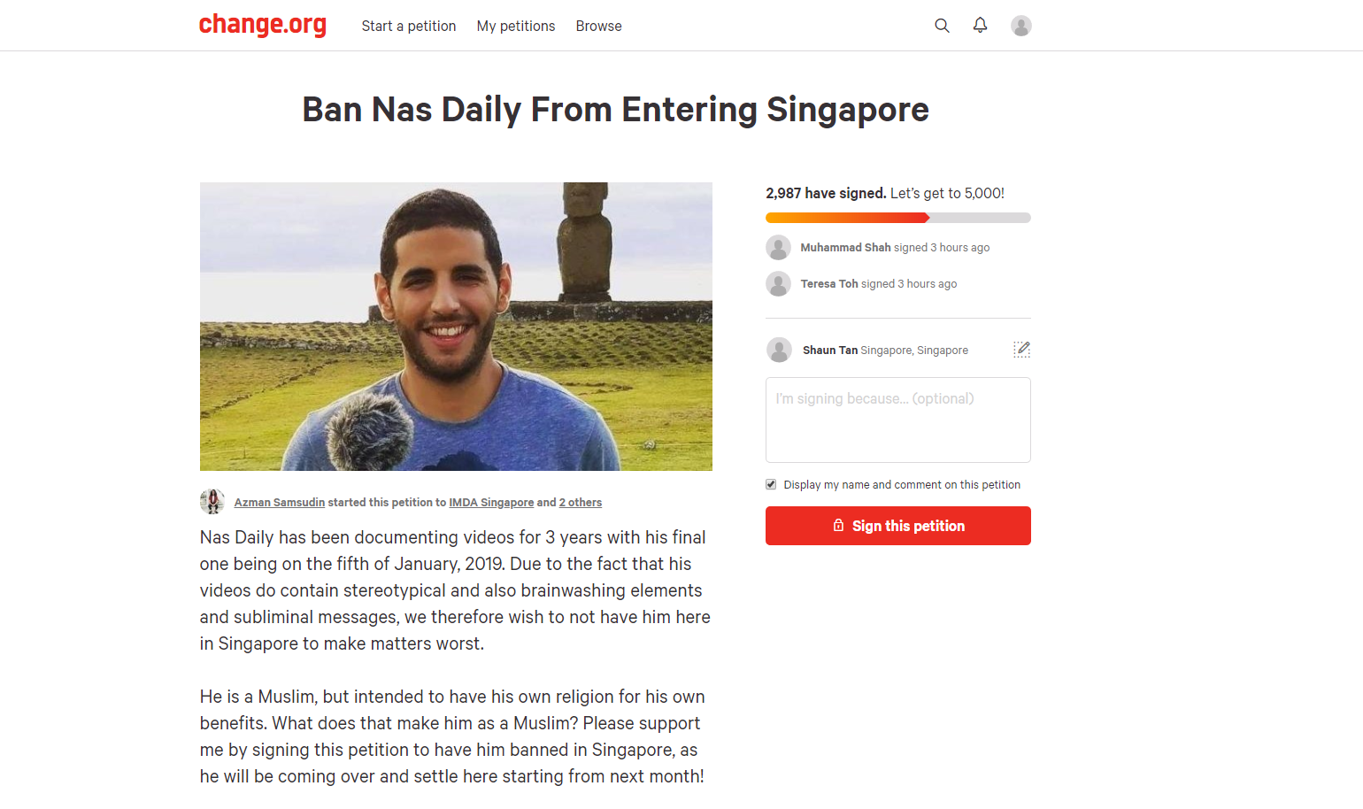 10 Questions with the Guy Who Wants to Ban Nas Daily From Singapore